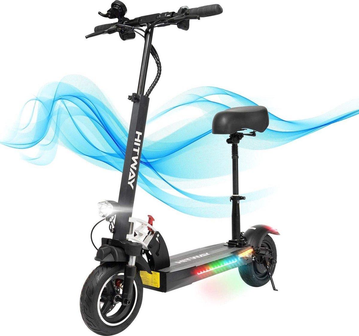 Elektrische step, E-scooter met zitting (800 W, 43 km/h, max. 40 km, opvouwbare elektrische scooter met LCD-display 10 A Li-ion accu), E-scooter voor jongeren en volwassenen (BLACK 01)