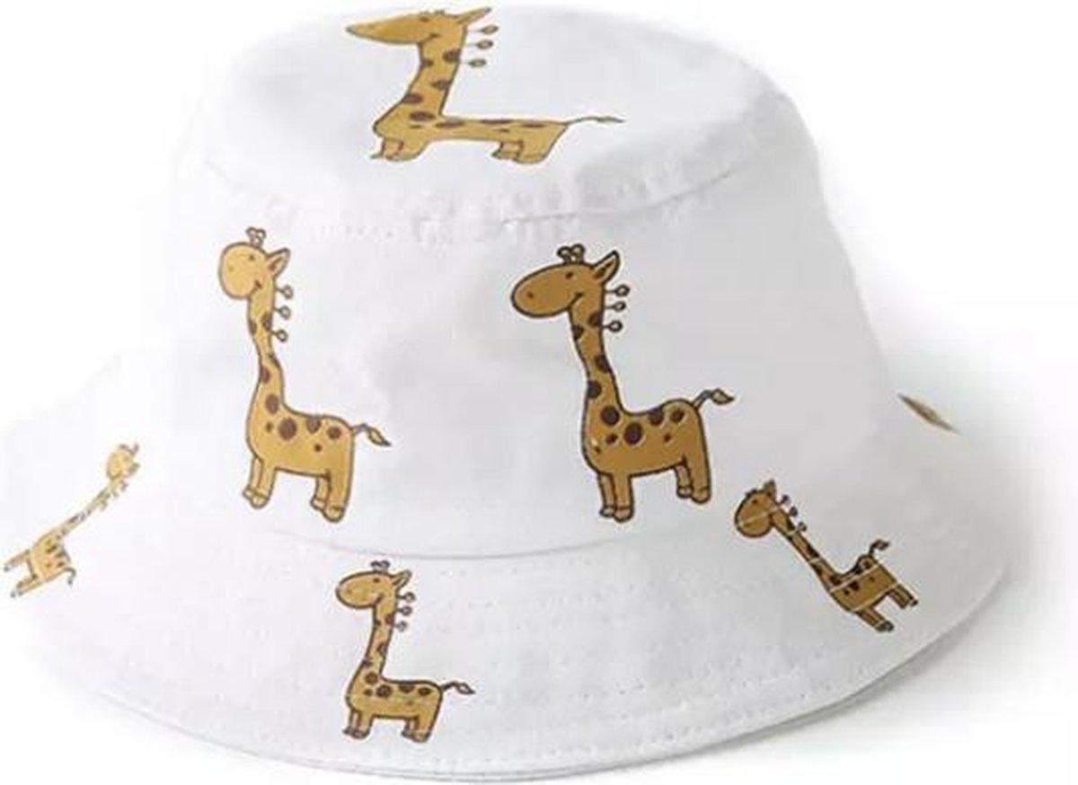 Zonnehoed Kind - hoedje met giraffe - Wit - One Size
