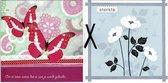 2 Luxe vierkante wenskaarten 15 x 15 cm -  Sterkte/denk aan je -  Gevouwen kaarten met envelop -