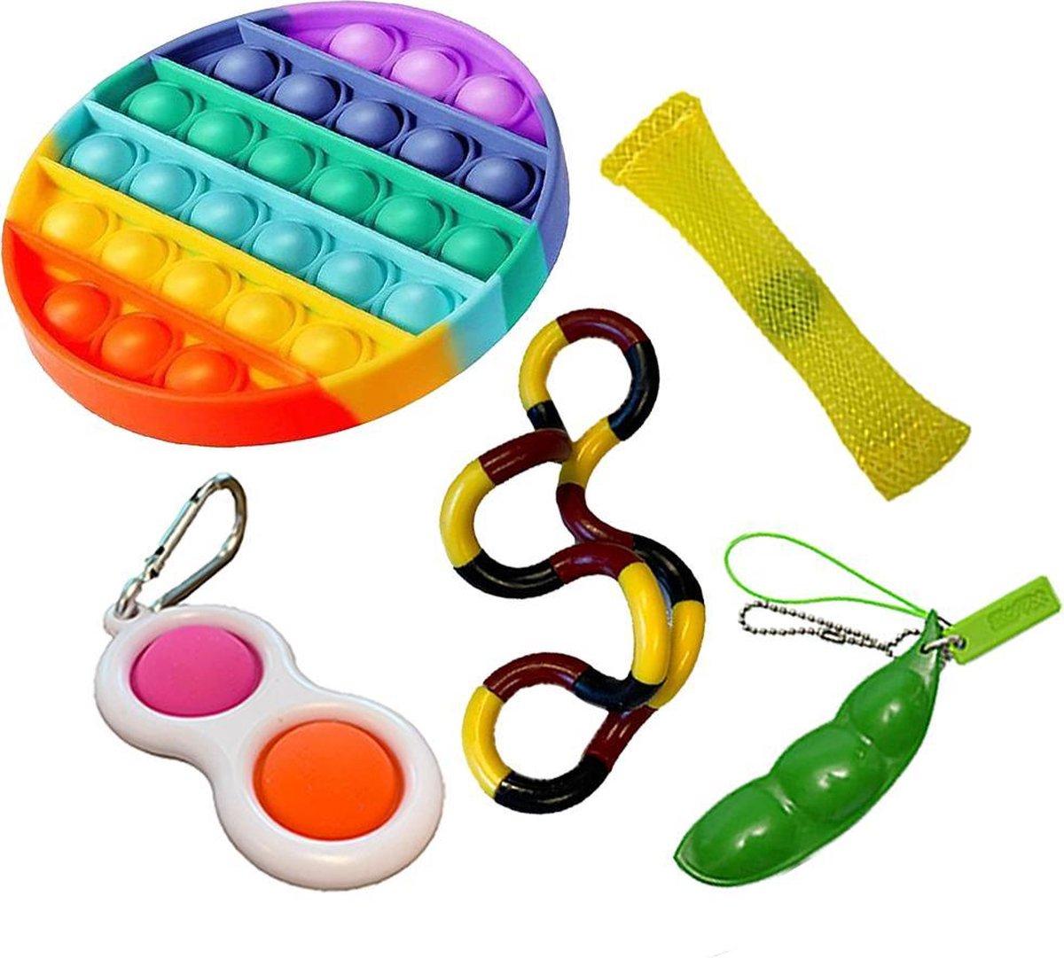 Pop it Fidget toys pakket set - Pop it - Pop All Up  - 5 Delig - Simple dimple - Pea popper - Mesh-a