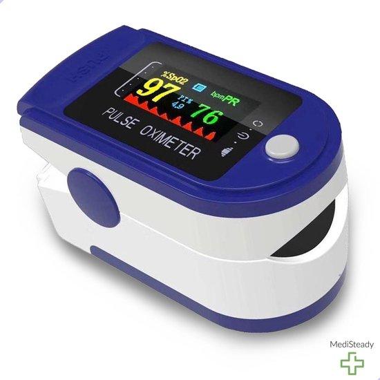 Medi Steady® Saturatiemeter - Blauw - Oximeter - Zuurstofmeter - Saturatiemeter zuurstofmeter vinger - Zuurstofmeter met hartslagmeter - Saturatiemeter met hartslagmeter - Saturatiemeter best getest - Saturatie - Saturatiemeters -Inclusief batterijen
