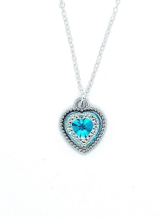 Ketting Meisje- Hart- Glitter- Strass- Diamant- Licht Blauw- Zilver- Kind- LiLaLove