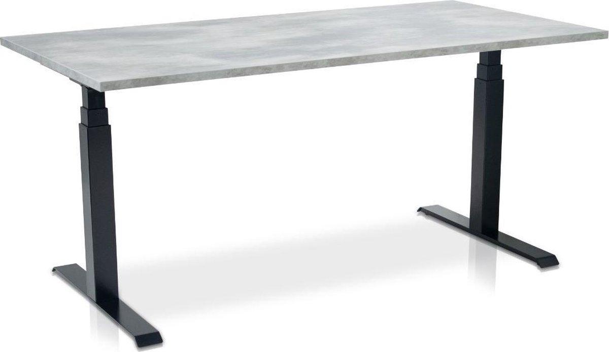 Zit-sta bureau elektrisch verstelbaar - MRC PRO-L | 180 x 80 cm | frame zwart - blad betonlook - met kabelmanagement | memory functie met 4 standen | 150kg draagvermogen