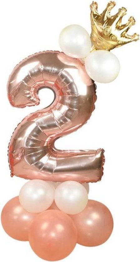 Verjaardag 2 jaar - Rose/Goud - Ballonnen Set - 2  Jaar Meisje - Feestversiering - Decoratie