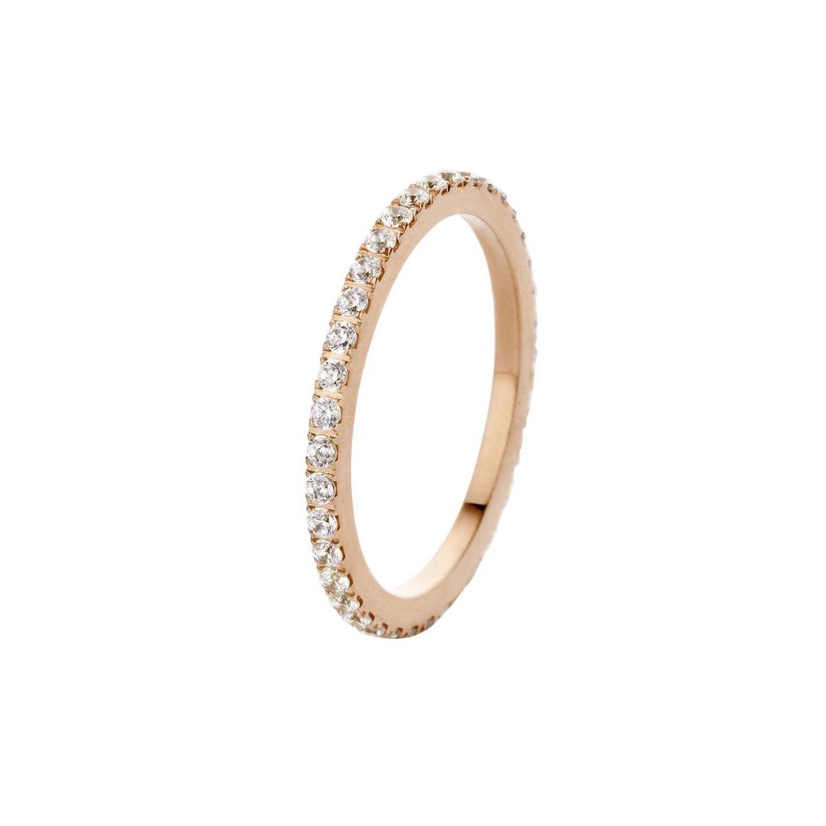 Melano friends Sade cz ring - Roségoudkleurig + Crystal - Dames - Maat 58 - Melano Jewelry
