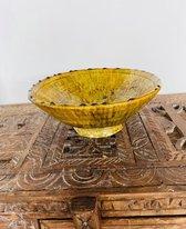 Tamegroute fruitschaal | kom | Marokkaanse Aardewerk Geel | Diameter 24