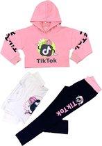 meisjes 3-delig tiktok crop-top loungewear set | trainingspak | roze | maat 3_4 JAAR GF214