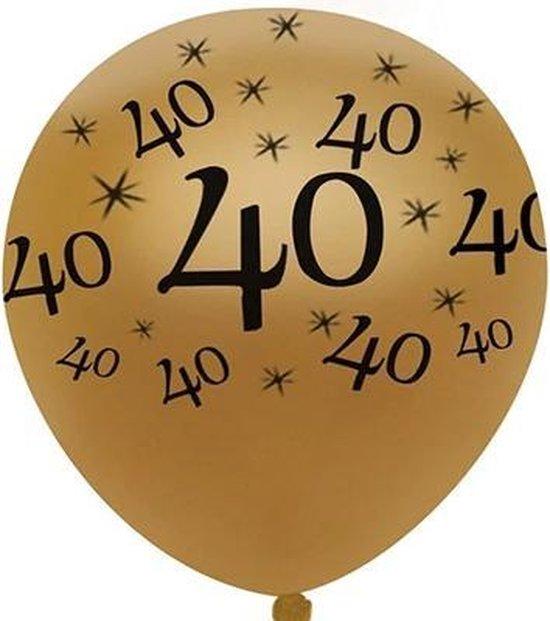 JDBOS ® 10 ballonnen (goud) met zwarte opdruk verjaardag 40 jaar