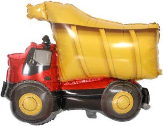 Kiepwagen ballon - 69x82cm - Folie ballon - Helium - Leeg - Auto - Auto ballon - Zand wagen - Versiering - Leeg - Verjaardag - Ballonnen - Thema feest - Truck - Car