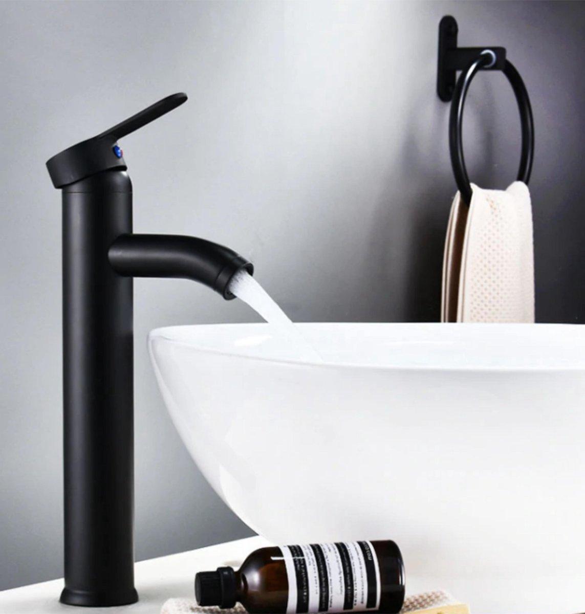 GIMAXX Luxe Wastafelkraan - Hoge Zwarte Keukenkraan Zwarte Handgreep - Hoogwaardige Badkamerkraan - Geschikt voor Warm & Koud Water - Zwart - Hoog