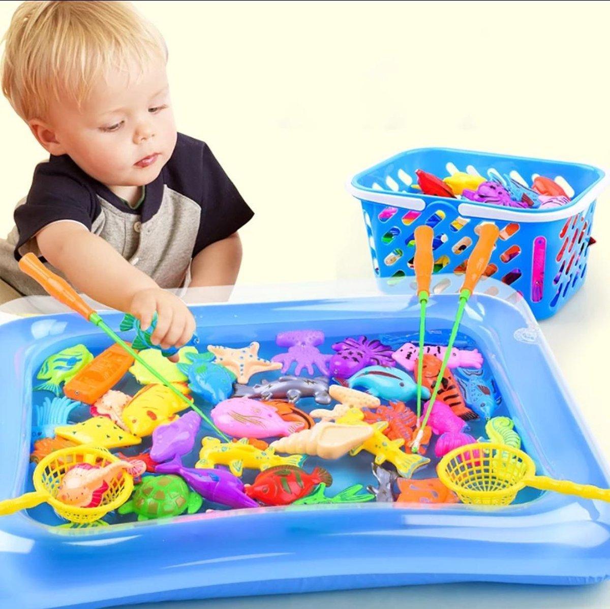 Kinderen Vissen Speelgoed Met Opblaasbare Zwembad - Visspel Water - Hengel Magnetische- Kleur blauw 52-delig mandje zwembad Vissen Vangen - speelgoed voor peuter kinderen visspel, educatief speelgoed -Baby bad speeltjes met vangnet