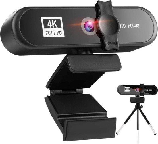 B-care Professionele 4K Webcam – 4K Ultra HD - 8 Megapixel - 3840P - Autofocus - Webcam met Standaard – Tripod Webcam - Webcam met Microfoon – Windows en Mac – Webcam Cover – Privacycover - Videobellen – Internet Bellen – Vergadering - Thuiswerken