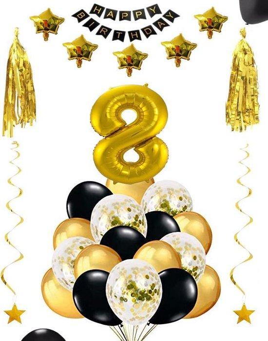8 jaar verjaardag feest pakket Versiering Ballonnen voor feest 8 jaar. Ballonnen slingers sterren opblaasbaar cijfer 8.