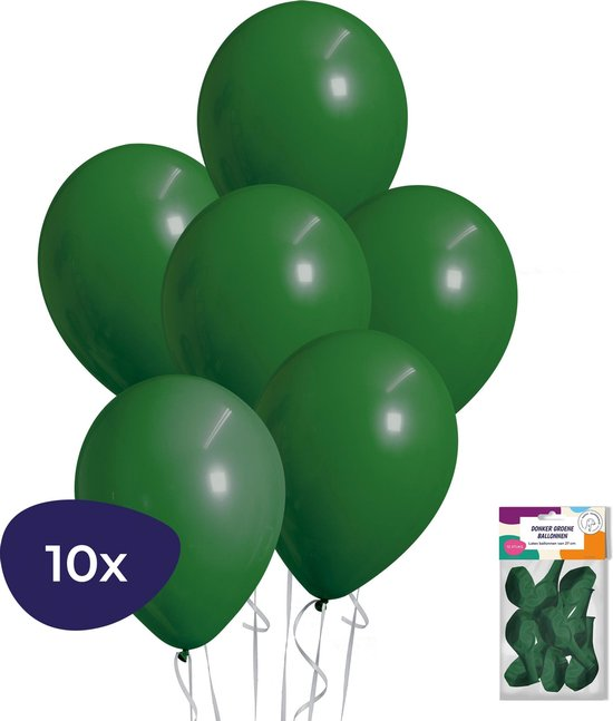 Groene Ballonnen - Helium Ballonnen - Jungle Decoratie - Jungle Versiering - Donker Groene Ballonnen - 10 stuks