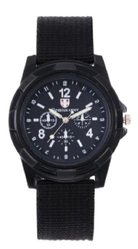 Stoer jongens-/herenhorloge quartz zwart I-deLuxe verpakking