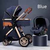 Luxe multi-functionele 3 in 1 wandelwagen - Babywagen - Kwalitatieve buggy - Opklapbare kinderwagen - Licht en flexibel - Blauw/Choco/Beige/Grijs/Roze