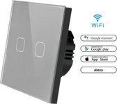 WIFI Wand schakelaar Touch 1x Grijs 86mm 1 gehard glas paneel muur Switch lichte aanraking-wegschakelaar AC 90-250 v 400W 2A 1x schakelaar 2 weg WIFI