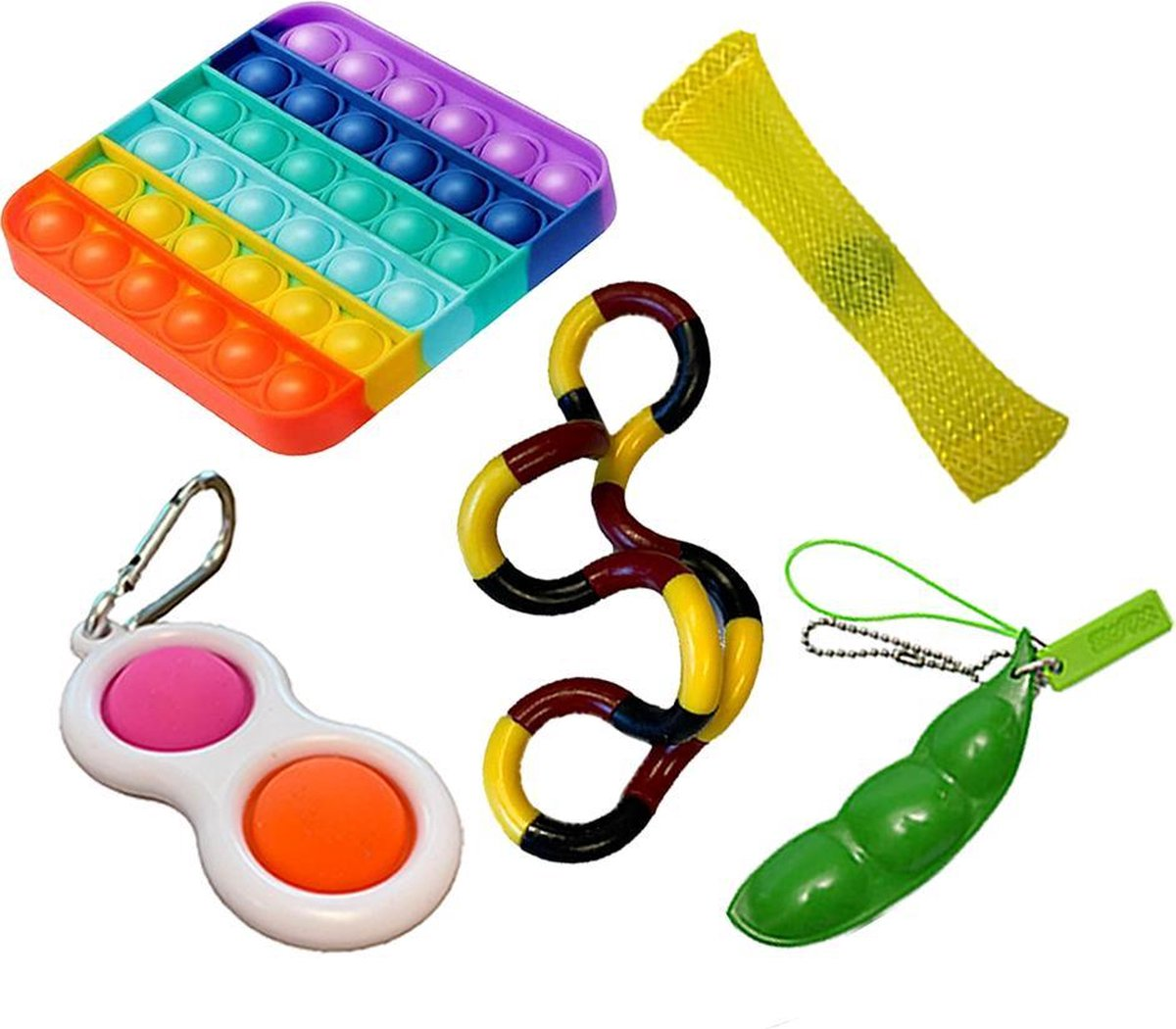 Pop it Fidget toys pakket set - Pop it - Pop All Up® - 5 Delig - Simple dimple - Pea popper - Mesh-a