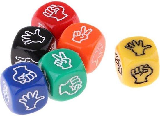 Afbeelding van het spel Steen Papier Schaar Dobbelstenen - Set van 3 Stuks - Rock Paper Scissors - Dobbelspel - Stipco