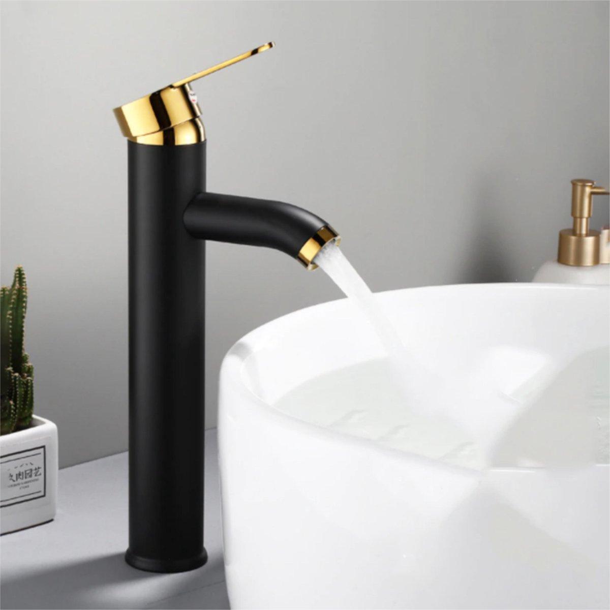 GIMAXX Luxe Wastafelkraan - Zwarte Keukenkraan Gouden Handgreep - Hoge Badkamerkraan - Hoogwaardige Badkamerkraan - Geschikt voor Warm & Koud Water - Goud/Zwart - Hoog