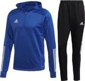 Adidas TK Hooded Trainingspak Heren - Adidas Trainingspak met Capuchon - Trainingspak Navy - Maat XL