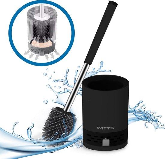 WITTS WC Borstel met Houder - Toiletborstel met Houder – Hygiënische Toiletborstel - Staand of Hangend – Mat Zwart – Incl. Pincet - Incl. Absorberende Mud Pad