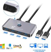 Achaté USB 3.0 Switch - 2 computers delen 4 usb poorten - Plug & Play High Speed
