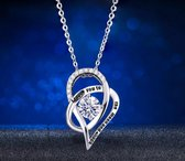 """Fate Jewellery FJ450 Ketting - """"I love you to the moon and back"""" Ketting - 925 Zilver - 45"""