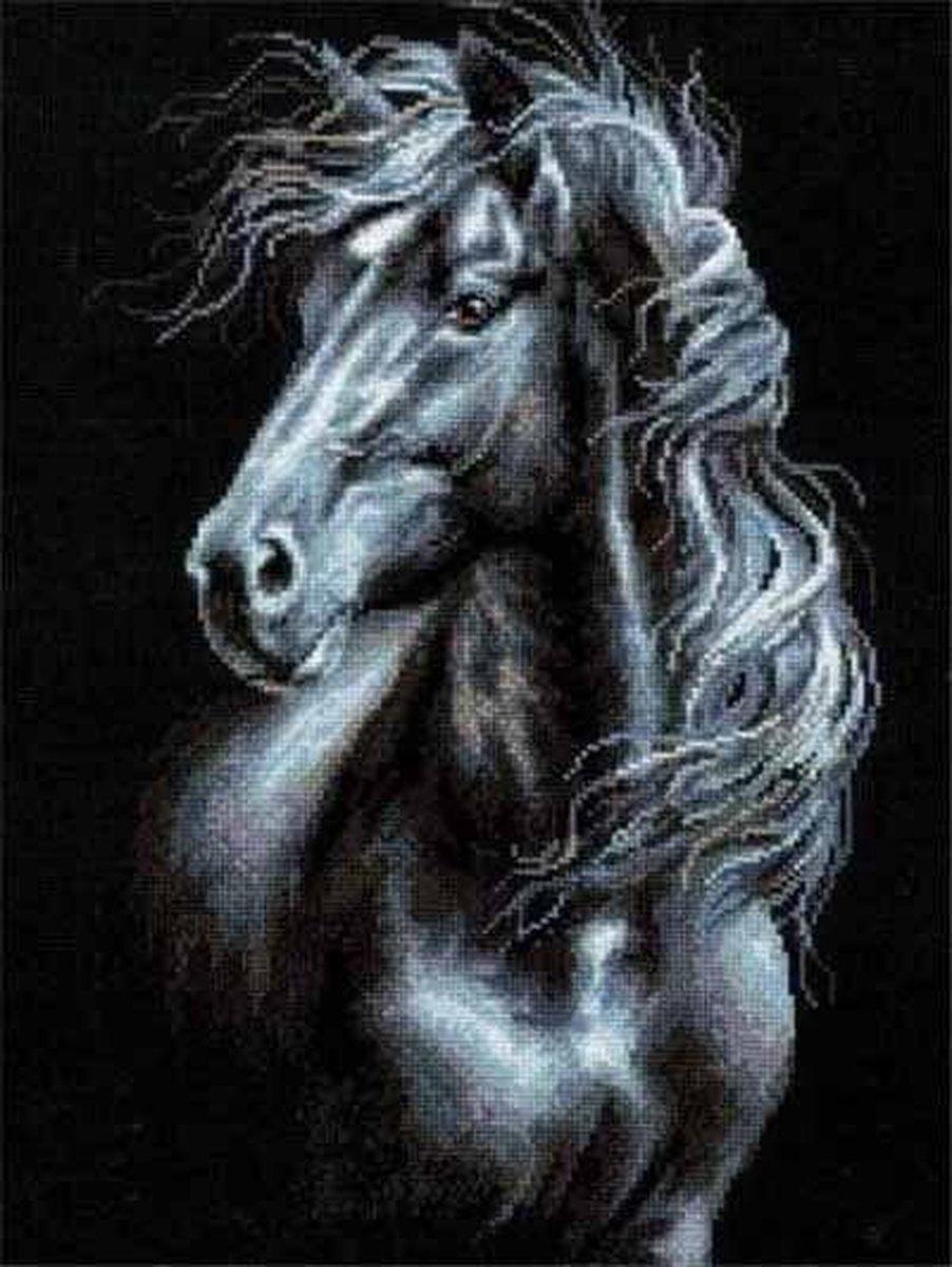 Premium Paintings - Paard in Zwart-Wit - Diamond Painting Volwassenen - Pakket Volledig / Pakket Full - 30x40 - Moederdag cadeautje