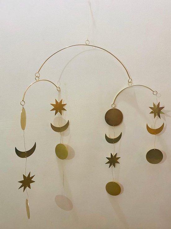 Mobiel moon stars brass