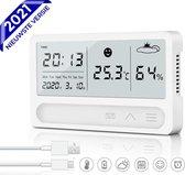 Nince Multifunctionele Hygrometer + Thermometer van Hoge Kwaliteit 2021 Model - USB Oplaadbaar - Geschikt voor Binnen