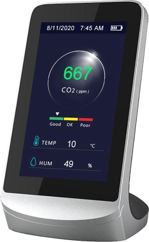 Genefico CO2 Meter - Hygrometer - CO2 Meter, temperatuurmeter en luchtvochtigheidsmeter - Draagbaar en Oplaadbaar - Zwart