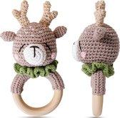 Houten Baby Rammelaar - Gehaakte Rammelaar - Babyspeelgoed - Bijtring - Hert
