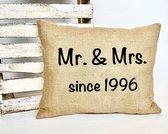 Jute kussen 40 cm x 50 cm   25 jaar getrouwd   Zilveren Huwelijk   Jubileum Cadeau   Trouwdag Cadeau   Huwelijksjubileum