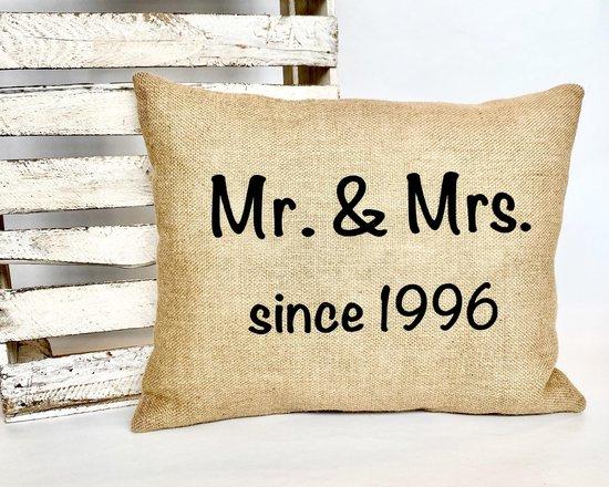 Jute kussen 40 cm x 50 cm | 25 jaar getrouwd | Zilveren Huwelijk | Jubileum Cadeau | Trouwdag Cadeau | Huwelijksjubileum