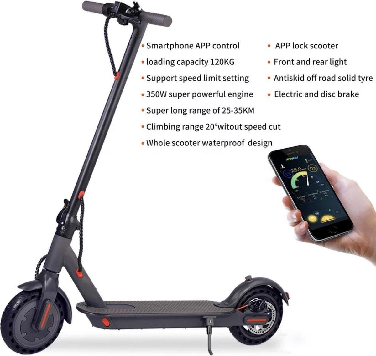 Elektrische step voor volwassenen 8.5inch - ( Xiaomi M365 Pro Look) - 350W - 25km/u - 25-45km bereik - 14Kg gewicht - 1 jaar garantie - opvouwbaar - Wit