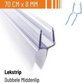 Simple Fix Lekstrip - Douchestrip - Waterkering - 70CM Lang - 8MM Glasdikte - Lekdorpel met Middenlip