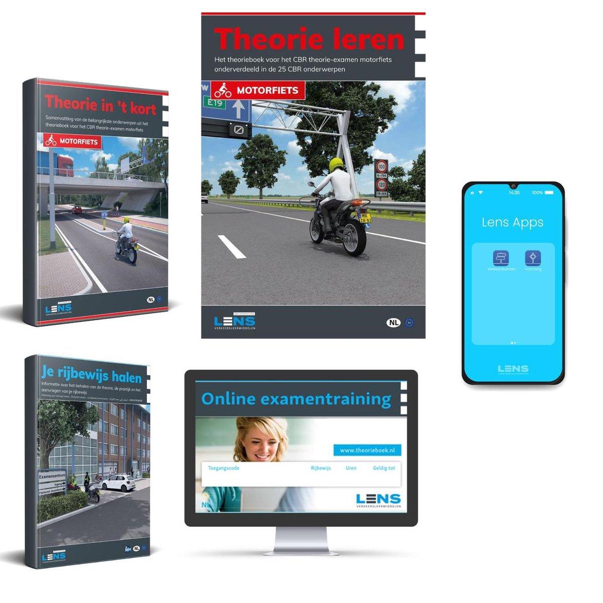 Motor Theorieboek 2021 met 50 Online Examens + Samenvatting + Apps + CBR Rijbewijs A Halen - Lens Me