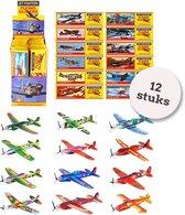 Foam vliegtuigen | 12 STUKS| Uitdeelcadeautjes | Foam Gliders | Zweefvliegtuig