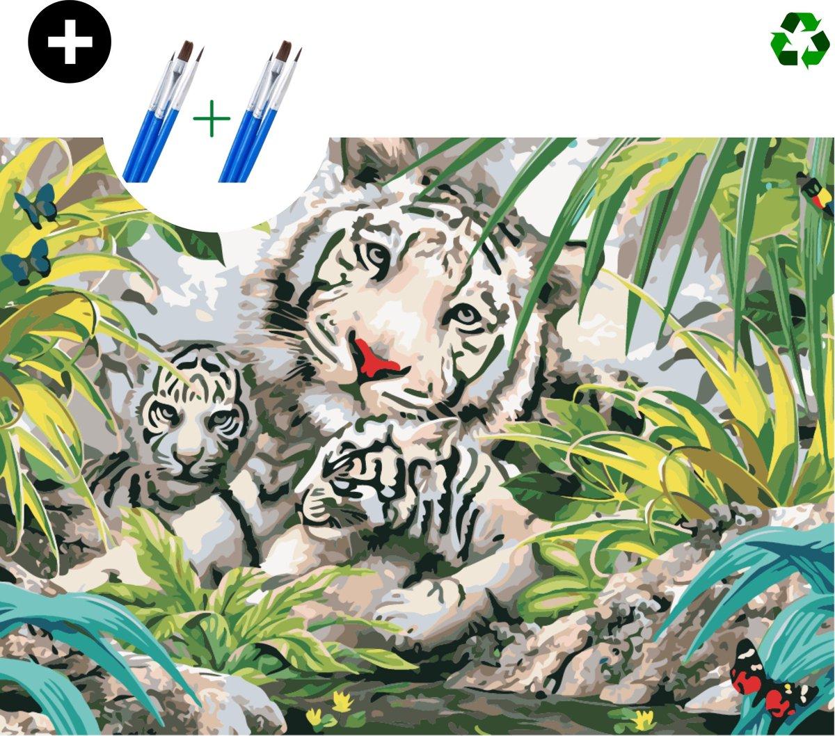 deeds.® - Schilderen op nummer volwassenen - Paint by number - Verven op nummer - Tijger - Bloemen - DIY set +Extra Penselen!