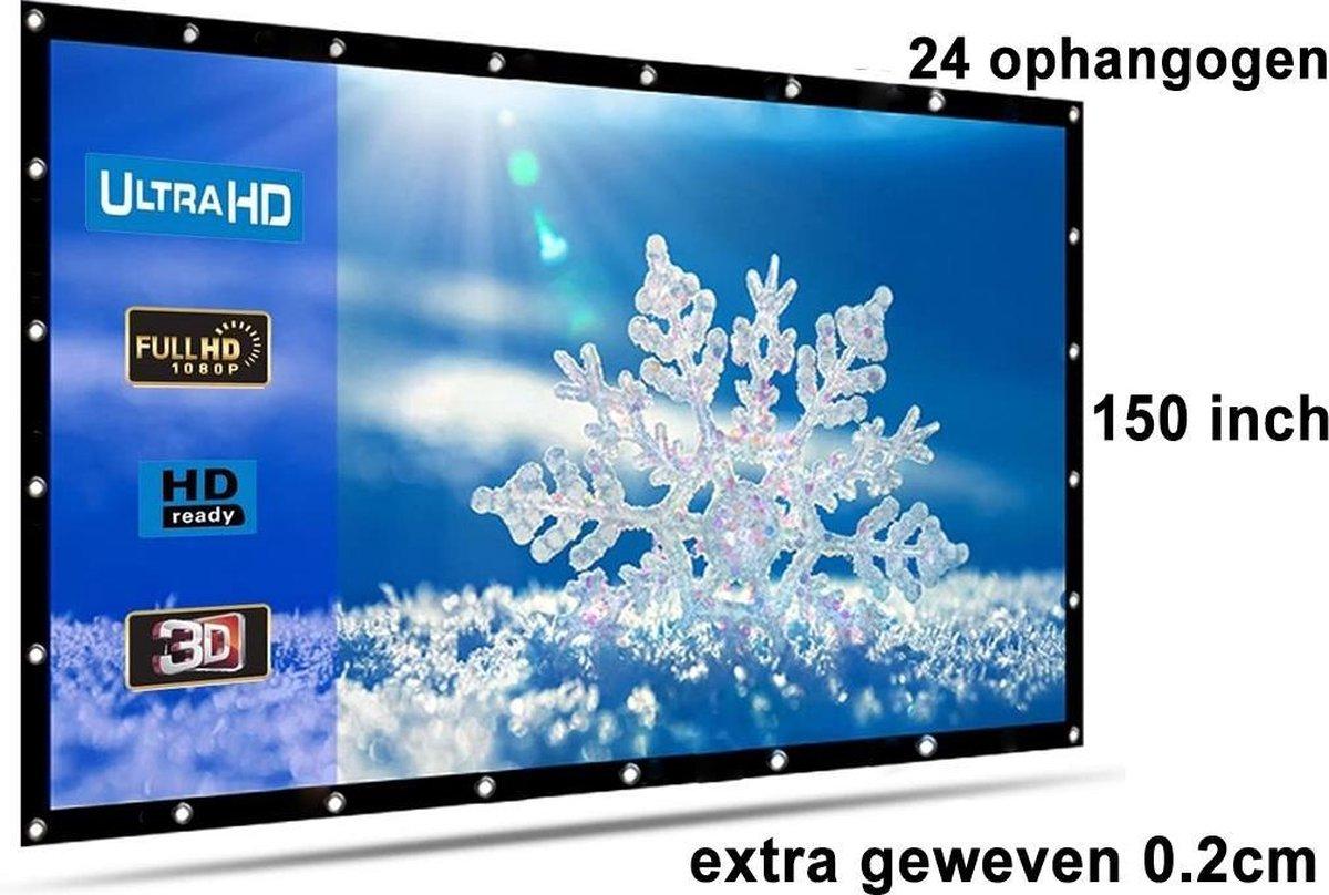 Beamer scherm projectiescherm 150 inch 16:9, dichter geweven >> 810 gram met 24 ophangogen, beamersc