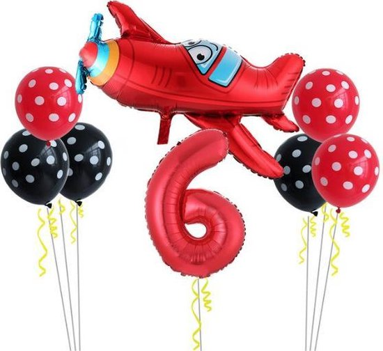 8 delig Ballonpakket met groot vliegtuig en cijfer 6