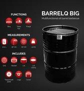 BarrelQ Big 200 L olievat multifunctioneel  houtskool barbecue- vuurkorf- statafel in één met Teppanyaki grill plaat en beschermhoes