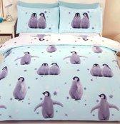 1- persoons kinderdekbedovertrek blauw / lichtblauw met pinguïns en zilveren sterren
