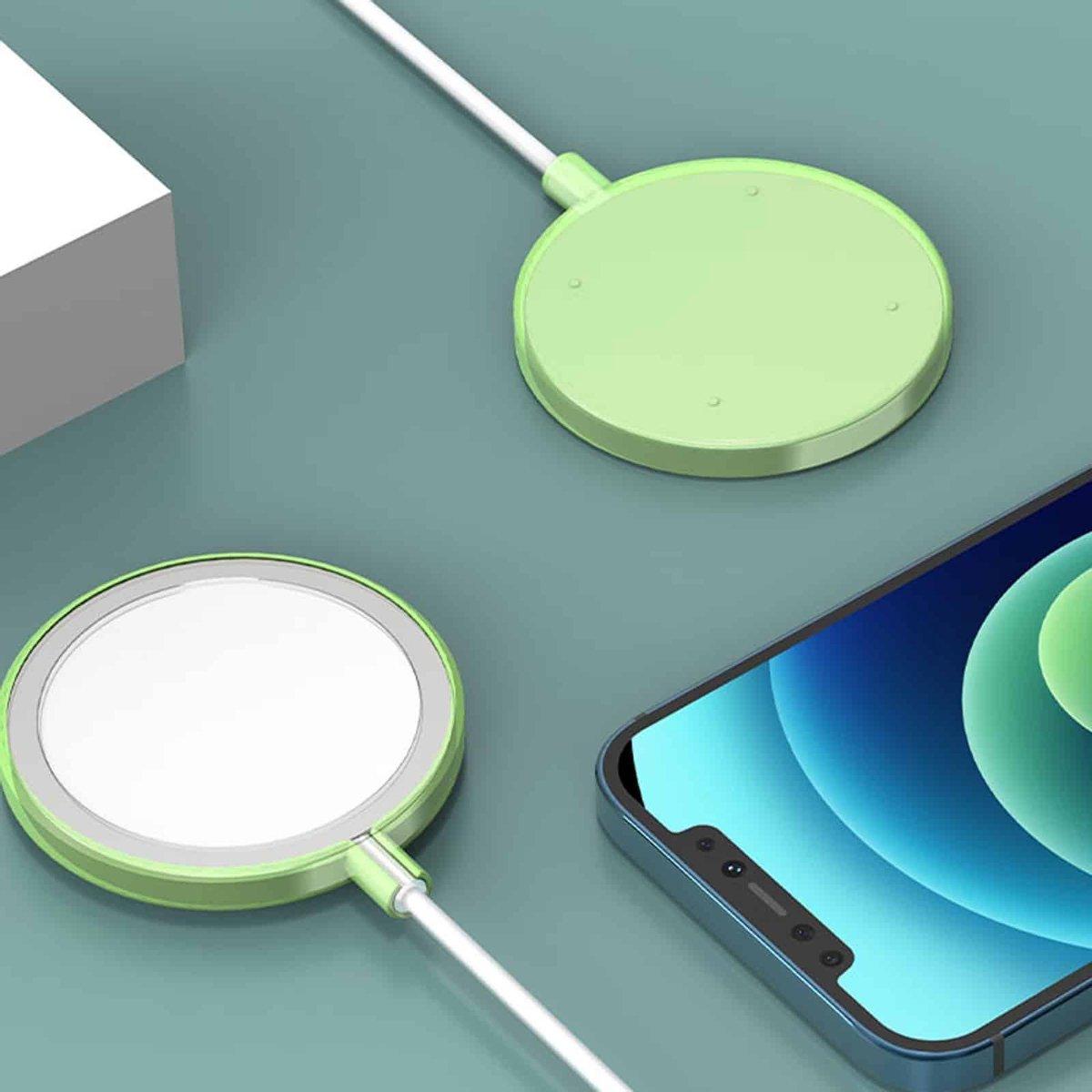 Schokbestendige siliconen + TPU beschermhoes voor iPhone 12 Pro Max MagSafe draadloze oplader (groen)