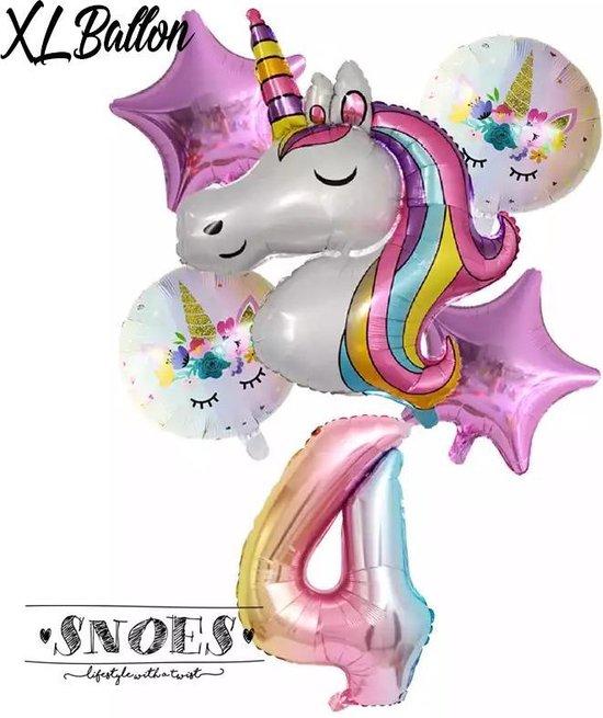 * Snoes * Unicorn * Eenhoorn * Set van 6 Ballonnen XL * Unicorn Nummer 4 * Vierde verjaardag * Hoera 4 Jaar * Birthday