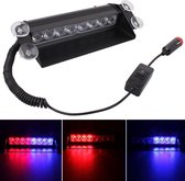 8W 800LM 8-LED rood + blauw licht 3-standen verstelbare hoek auto flitser Stroboscoop Noodverlichting Waarschuwingslamp met Suckers, DC 12V