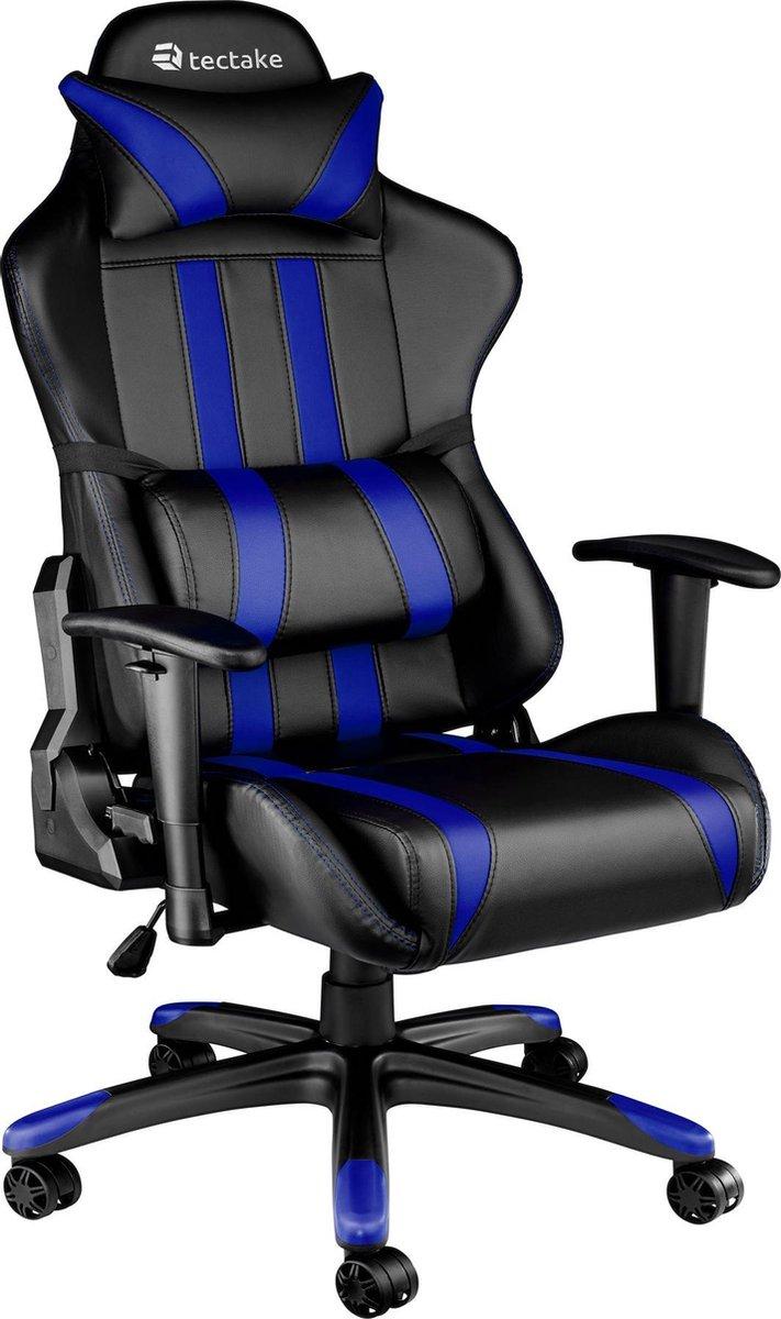 Tectake Gaming Chair Bureaustoel - Premium Racing Style -Zwart/Blauw - Kunstleer - Verstelbaar