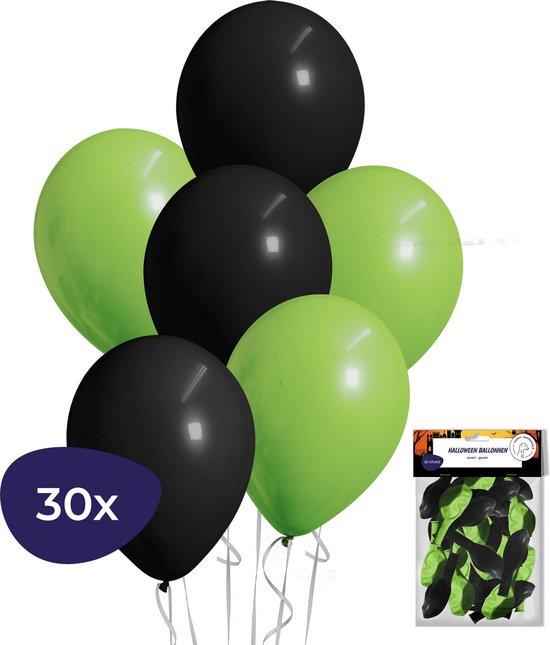 Halloween Decoratie - Helium Ballonnen - Halloween Versiering - Zwarte Ballonnen - Groene Ballonnen - 30 stuks