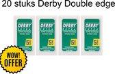 Derby Professional Double Razor Blades Scheermesjes | 20 stuks | Derby Double Edge Blades | Duurzaam  | Scheermesjes Vrouw + Man| Navulmesjes